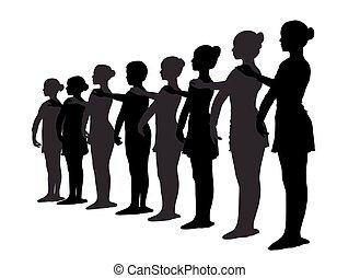 Ballet dancers standing in a row