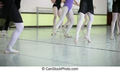 Ballet dancers training at school