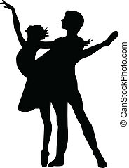 ballet, dans, meisje, en, jongen, silhouett