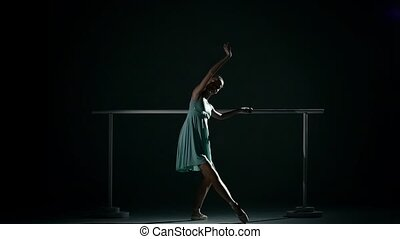 ballet, danse, mouvement, girl, floor., lent