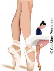ballet, femme, premier plan, jambes, danseur