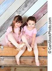 Ballet friends - Friends playing dress-up in ballet costumes...