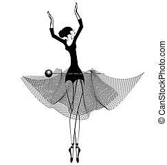 ballet girl and pin - white background and dancing black...