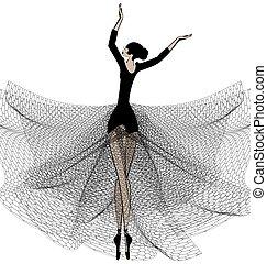 ballet girl in black - white background and dancing black...
