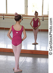 Ballet girl in front of mirror