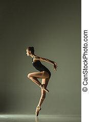 ballet, gracieux, jeune, femelle dansante, danseur, mélangé...