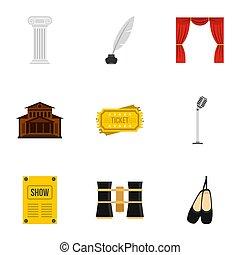 ballet, iconos, conjunto, plano, estilo