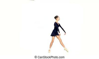ballet, isolé, danseur, noir, robe blanche
