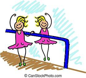 ballet kid - little girl at ballet lessons - toddler art...