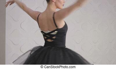 ballet, lent, pratiquer, mouvement, pirouettes, gracieux, girl, studio