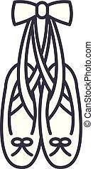 ballet, linéaire, icône, illustration, concept., symbole, vecteur, ligne, signe, chaussures