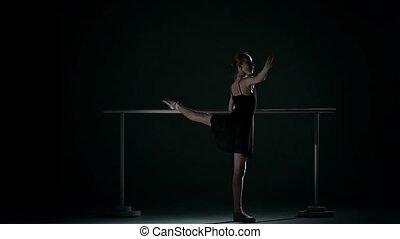 ballet, mouvement, abricot, tutu., poser, lent, barre., porter
