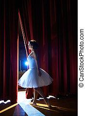 ballet, mujer, clásico, mirar, bailarín, establos, antes