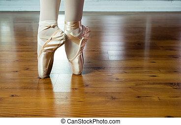 ballet, mujeres, entrenamiento, joven