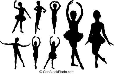 ballet, niñas, bailarines, siluetas