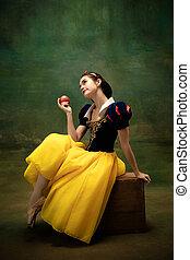 ballet, pomme, danseur, blanc, empoisonné, forêt, neige, ...