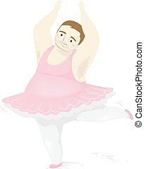 ballet, pose, homme, graisse, illustration