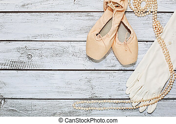 Ballet shoes and props on stage