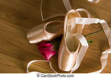 Ballet Shoes and Rose - A set of point ballet shoes or...