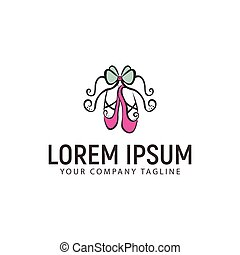 ballet shoes hand drawn logo design concept template