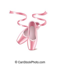 Ballet shoes isolated on white vector - Ballet shoes...