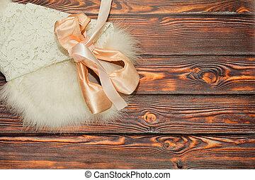 Ballet shoes on white swan skirt