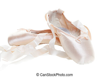 Ballet shoes - Pink ballet shoes isolated on a white...