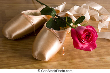 Ballet slipper - shoes with rose - new ballet slippers -...