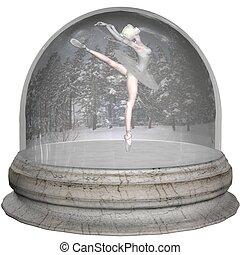 Ballet Snowglobe - Ballerina inside a snow globe, 3d...