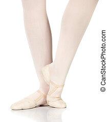Ballet Steps - Young caucasian ballerina girl on white...