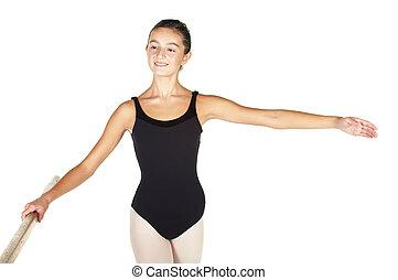 Ballet Steps - Young caucasian ballerina girl on white ...