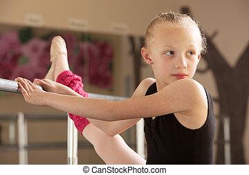 Ballet Student Looks Over