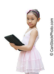 ballet, tablette, usage, girl