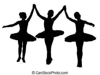 Ballet - Three ballerinas on isolated white background. EPS...