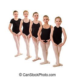 ballet, troisième, étudiants, jeune, pieds, position