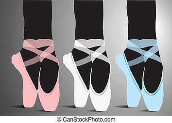 ballet, vecteur, chaussures, illustration