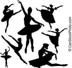 ballet, vecteur, silhouettes