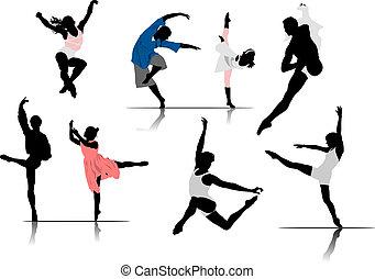 ballet, vector, dancers., ilustración, mujer