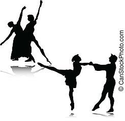 ballet, vector, ilustración