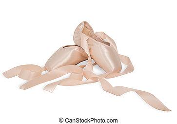 ballet, zapatos blancos, plano de fondo