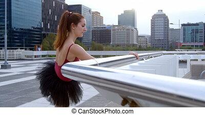 ballettänzer, dehnen, auf, bürgersteig, 4k
