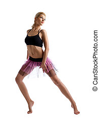 ballett, frau, tanz, junger, posierend, kostüm