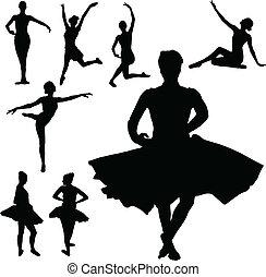 ballett, m�dchen, vektor, silhouetten