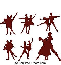 ballett, paar, silhouetten