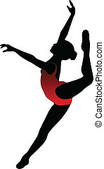 ballett, tanz, -, silhouetten, vektor, m�dchen