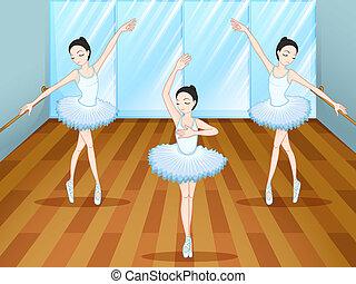 ballett tanzen, innenseite, tänzer, drei, studio