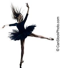 ballett tanzen, junger, silhouette, frau, weißer hintergrund, ballerina, freigestellt, tänzer