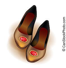 balletti, appartamenti, scarpe, rosso, spilla