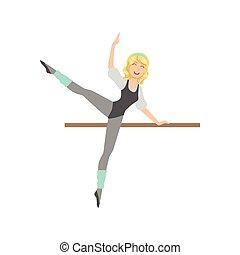 balletto, ballo, esercitarsi, polo, biondo, ragazza, classe