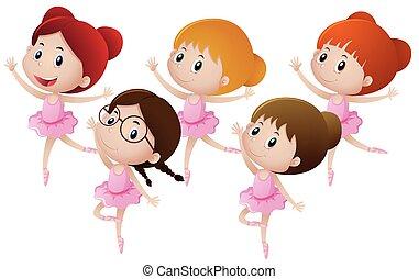 balletto, bambini, cinque, ballo